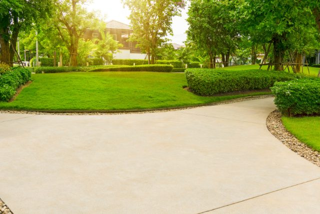 Concrete resurfacing project in backyard of home